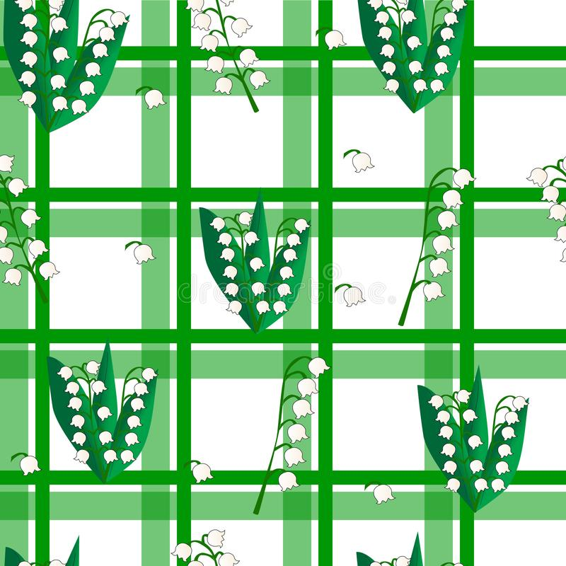 Seamless checkered green background with lilies of the valley vector illustration