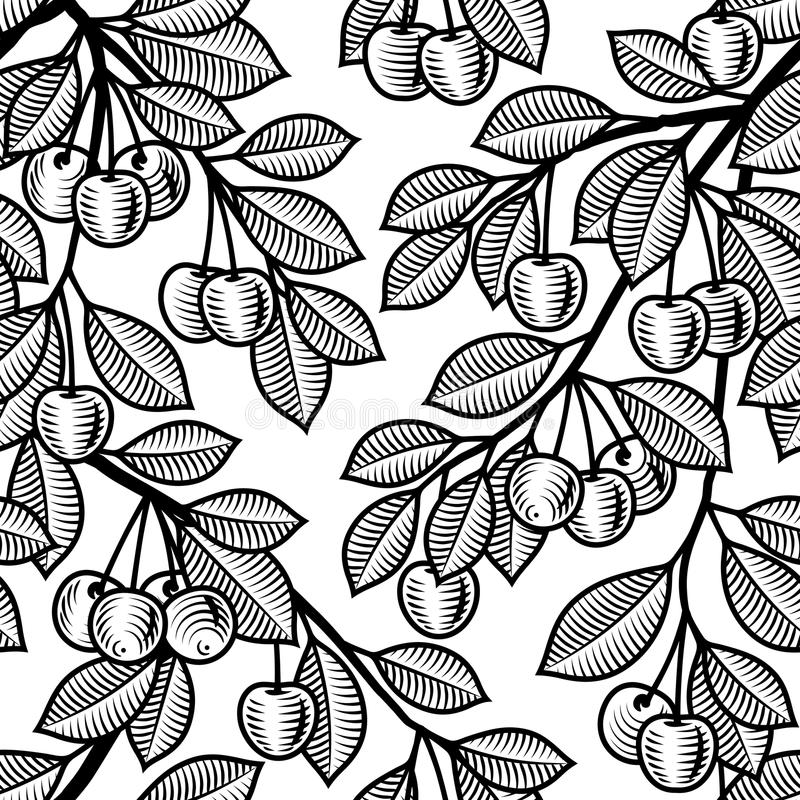 Seamless Cherry Background Black And White Royalty Free Stock Photo