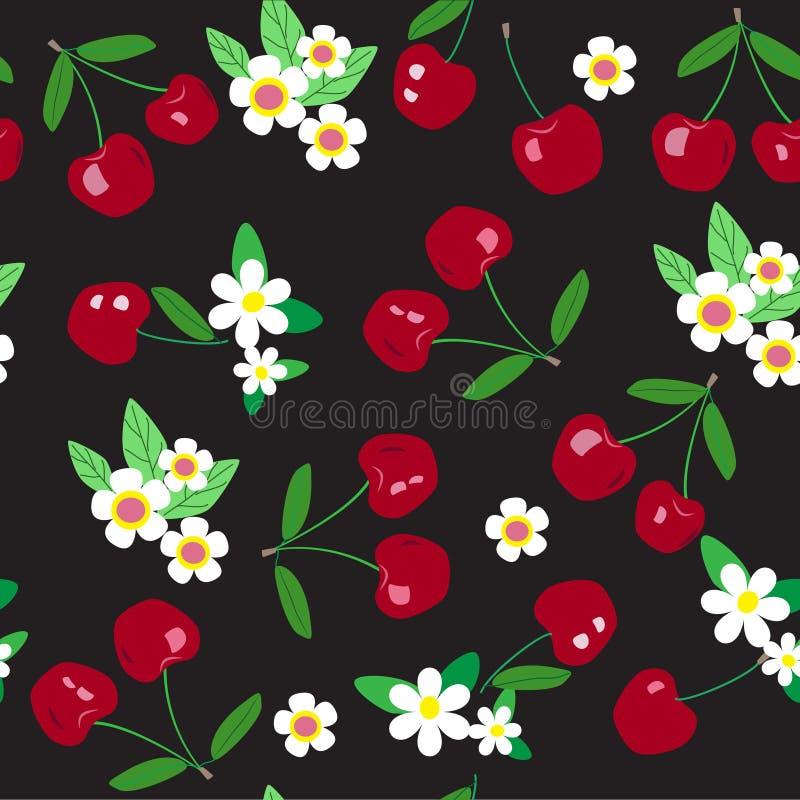 Seamless cherry pattern royalty free illustration