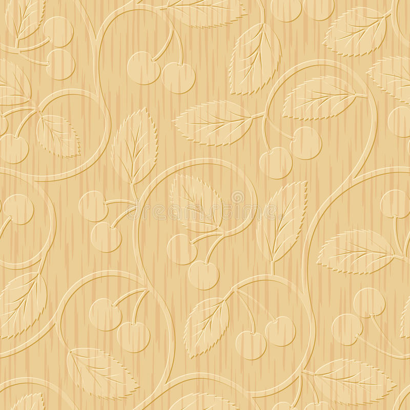 Seamless cherry wood carved floral ornament stock illustration
