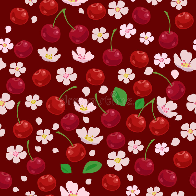 seamless Cherrymodell stock illustrationer