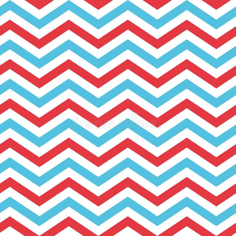 Seamless Chevron Pattern in Blue, Red, and White vector illustration