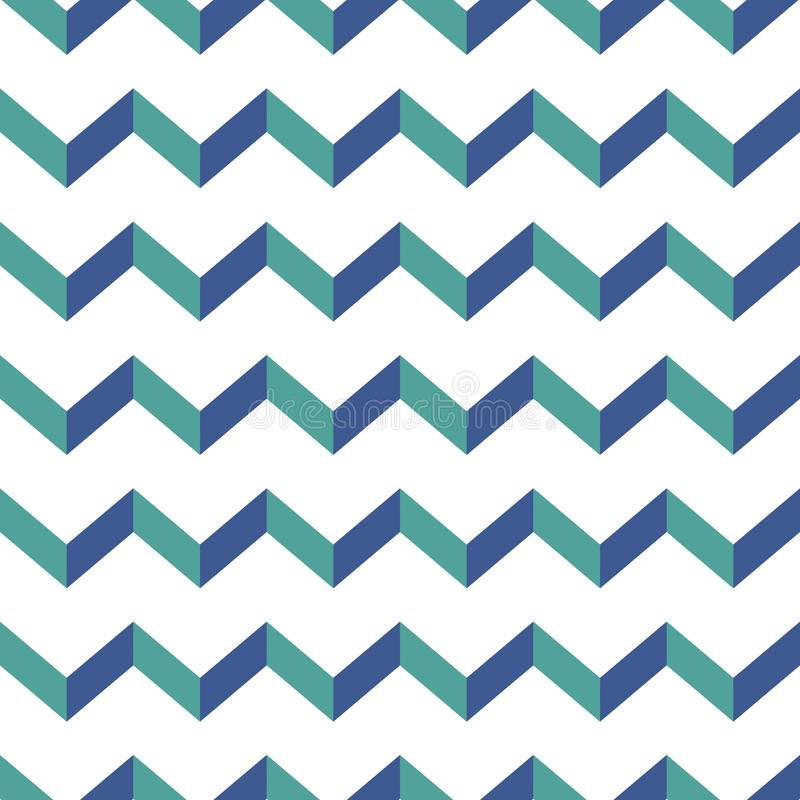 Seamless chevron pattern. Colorful blue and green zig zag on white background. royalty free illustration