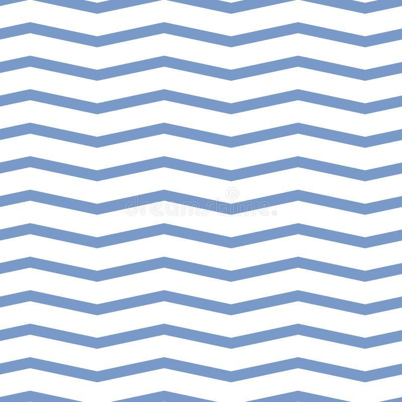 Seamless chevron pattern. Colorful blue zig zag on white background. stock illustration