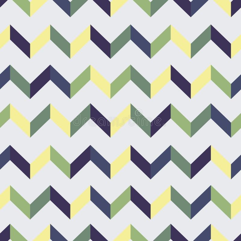 Seamless chevron pattern. Colorful zig zag in green, yellow violet colors on light purple background. vector illustration