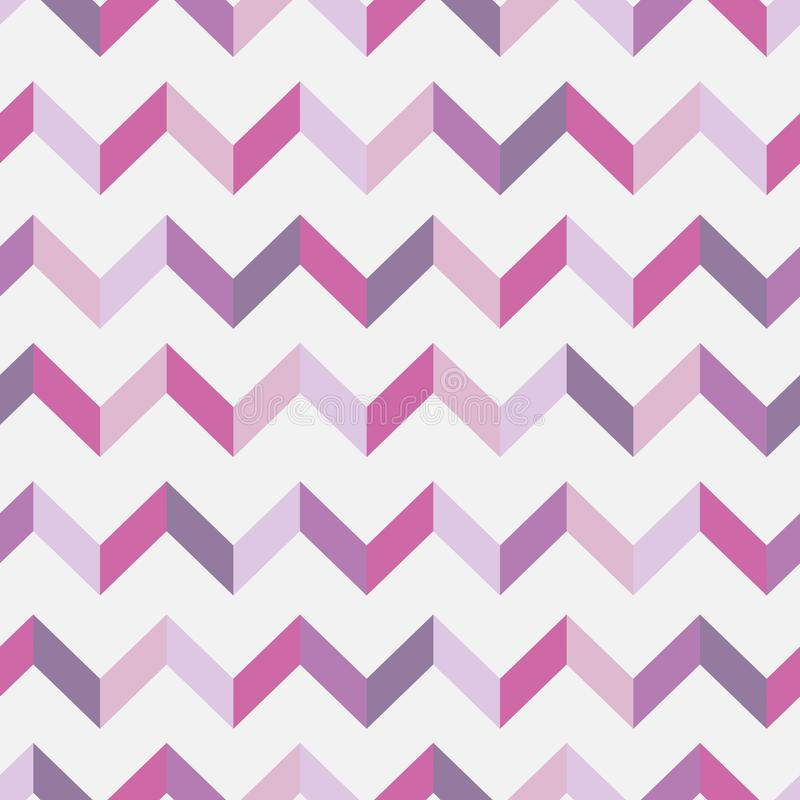 Seamless chevron pattern. Colorful zig zag in pink colors on white background. stock photography