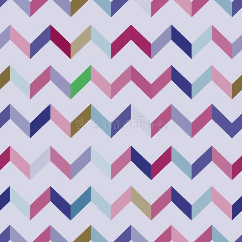 Seamless chevron pattern. Colorful zig zag in pink, violet, green, brown and blue colors on light purple background. royalty free illustration