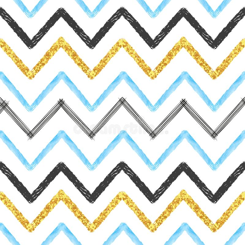 Seamless chevron pattern. Hand drawn brush stroke lines. Abstract background stock illustration