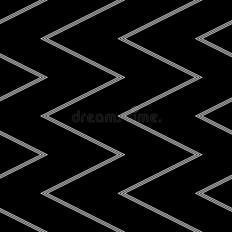 Seamless chevron pattern. White pinstripe zigzag lines texture on black background royalty free illustration