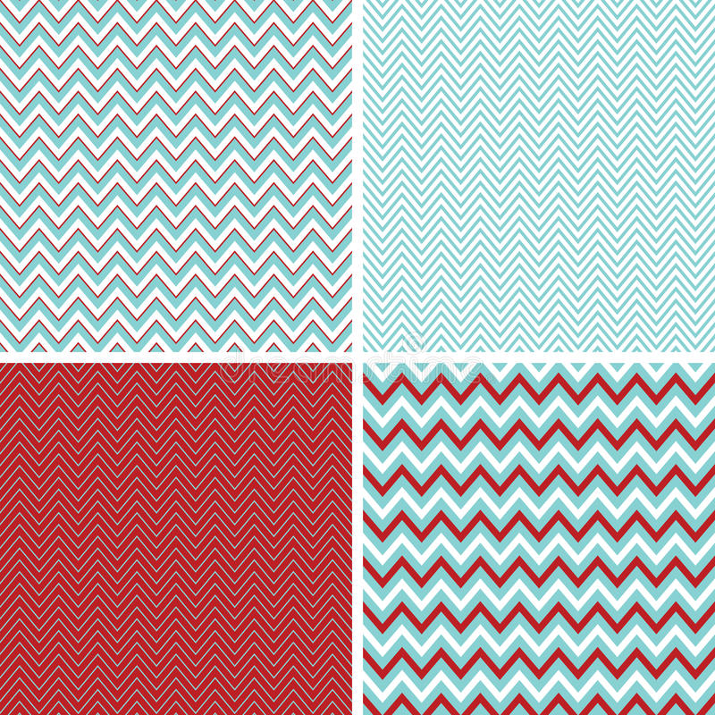 Free Seamless Chevron Patterns Aqua Blue, Dark Red And White Royalty Free Stock Image - 28219856