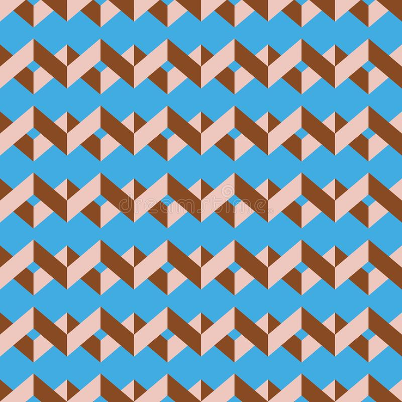 Seamless chevron vector pattern. Colorful pale pink zig zag on sky blue background. royalty free stock images
