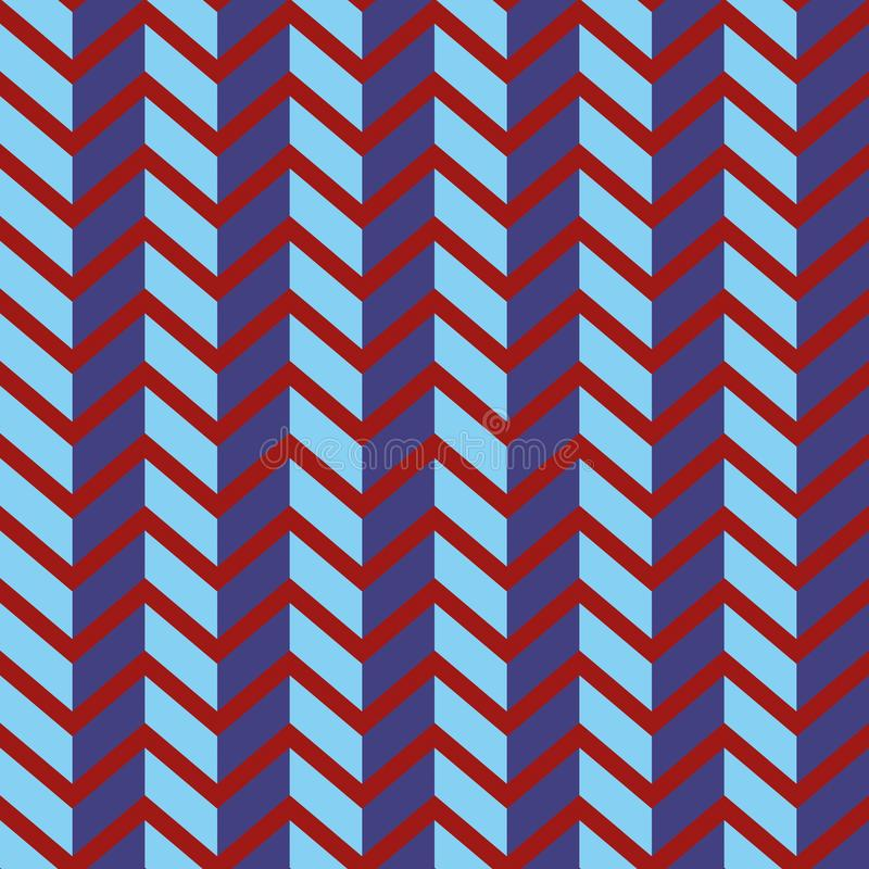 Seamless chevron vector pattern. Colorful purple zig zag on bright red background. stock illustration