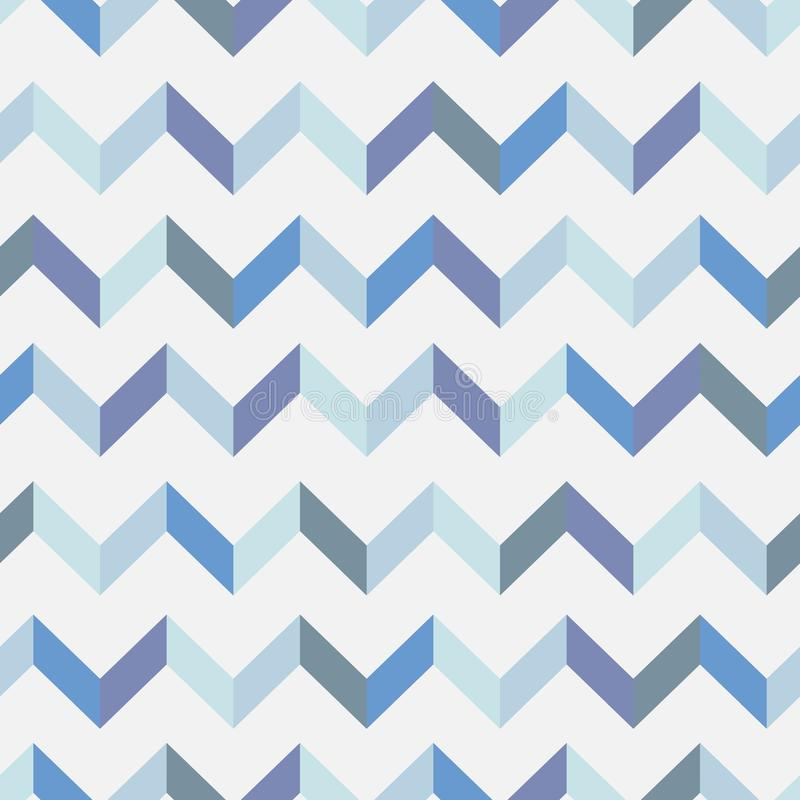 Seamless chevron vector pattern. Colorful zig zag in blue colors on white background. vector illustration