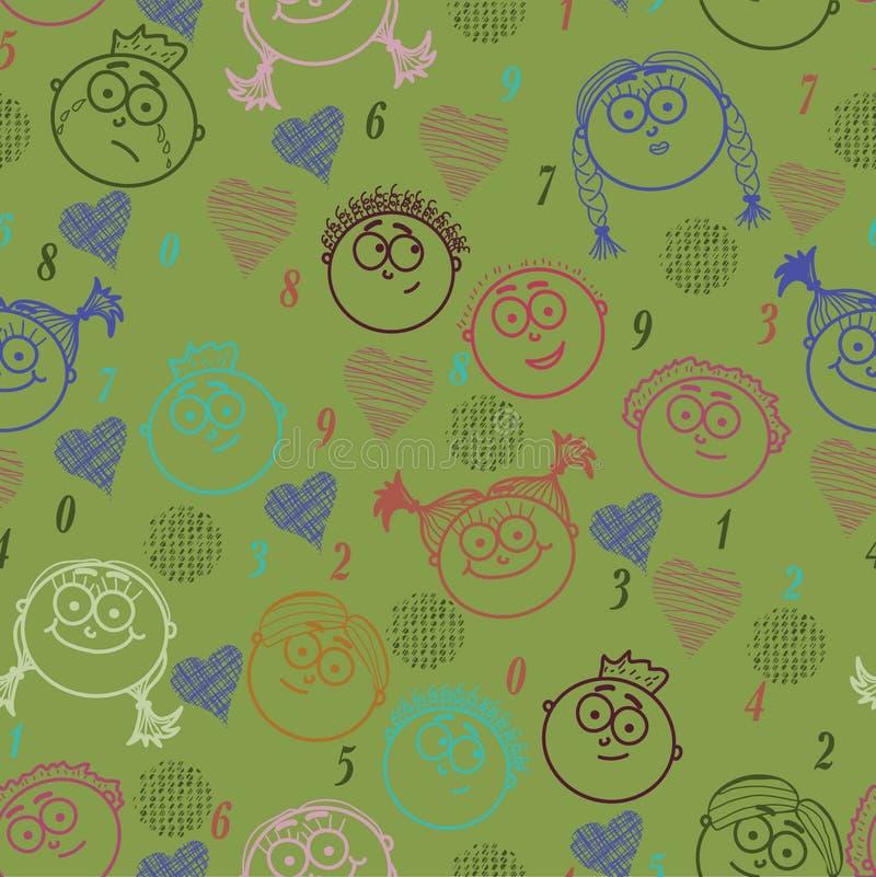Download Seamless Child Face Patter. Stock Illustration - Illustration of cute, design: 19903333