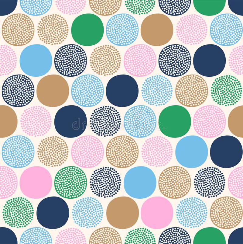 Seamless childish abstract colorful dots pattern on white background. royalty free illustration