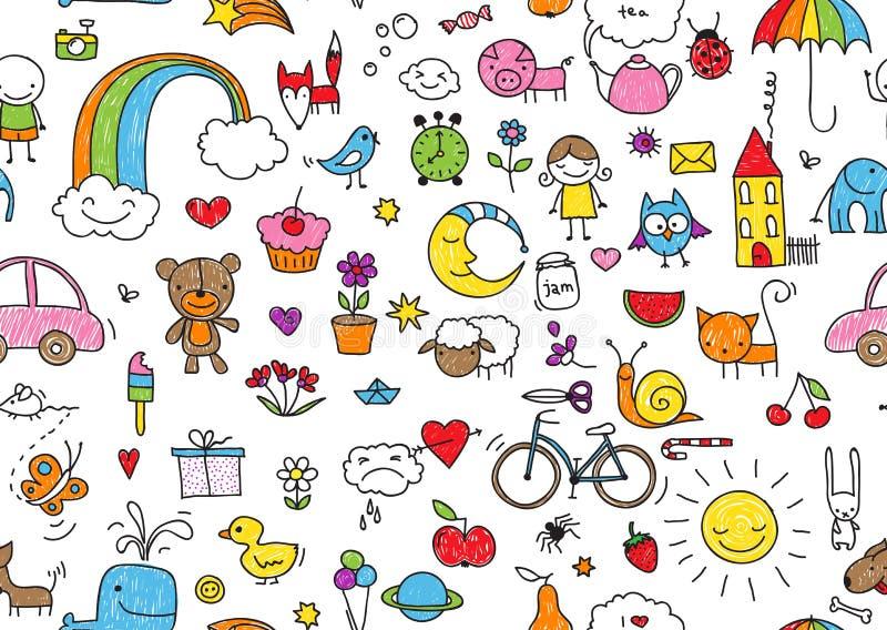 Seamless childish doodle stock illustration