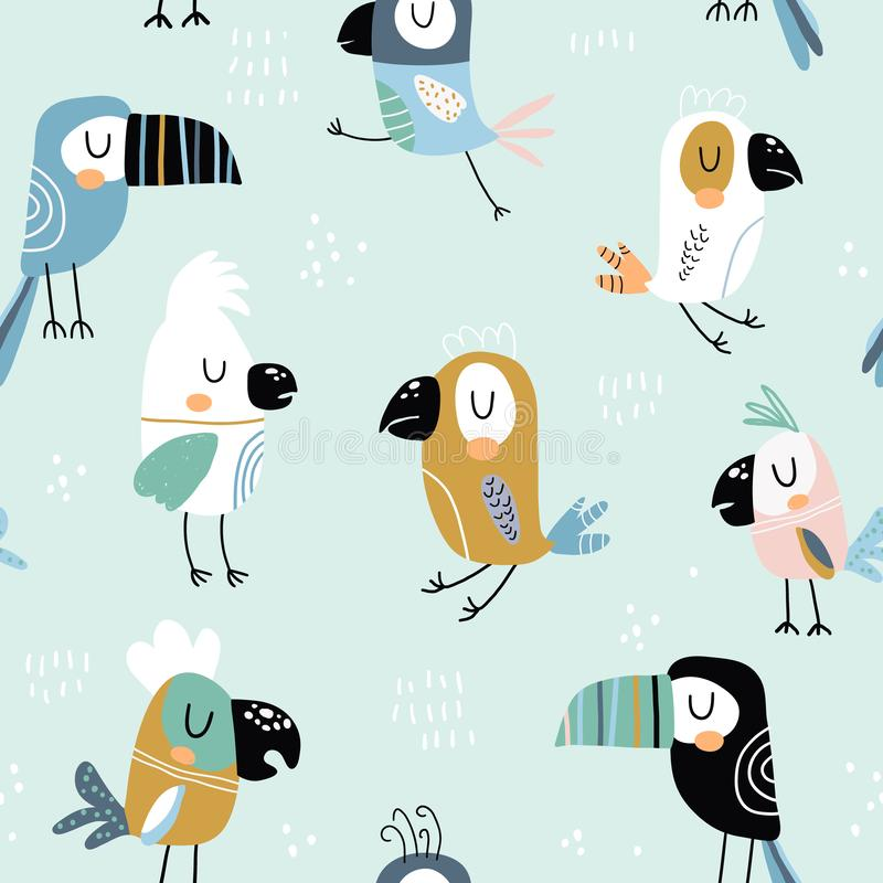 Seamless childish pattern with colorful parrots and toucans. Creative scandinavian style kids texture for fabric, wrapping, royalty free illustration