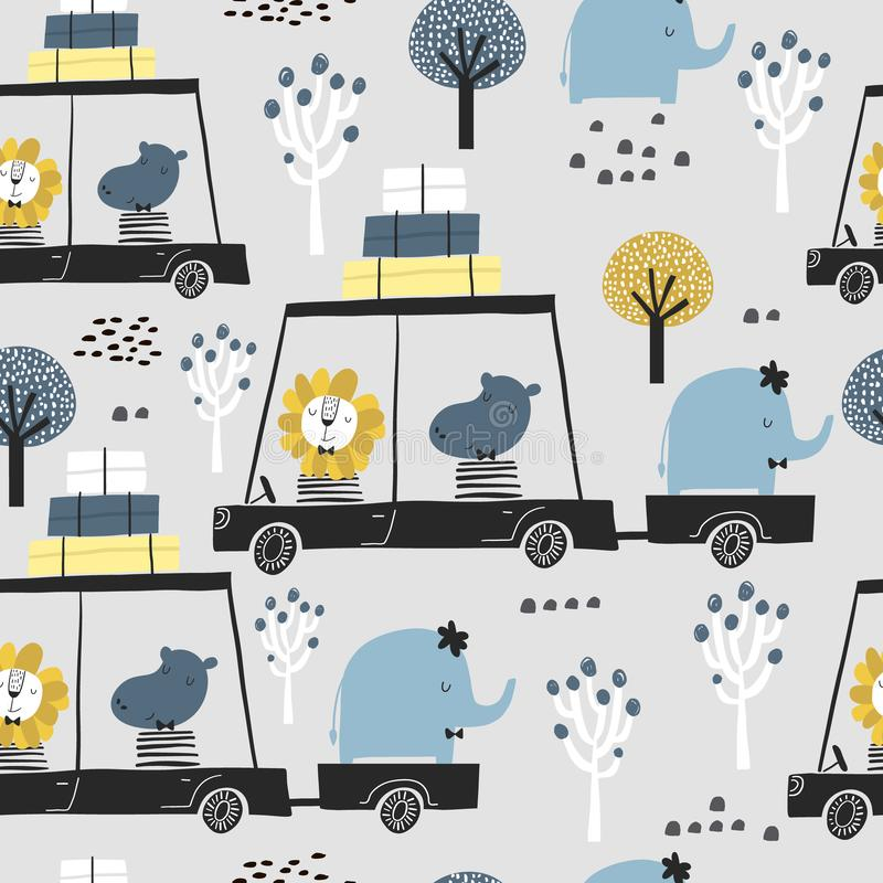 Seamless childish pattern with cute friends, lion, hippo, elephant in the car. Creative kids texture for fabric, wrapping, textile stock illustration