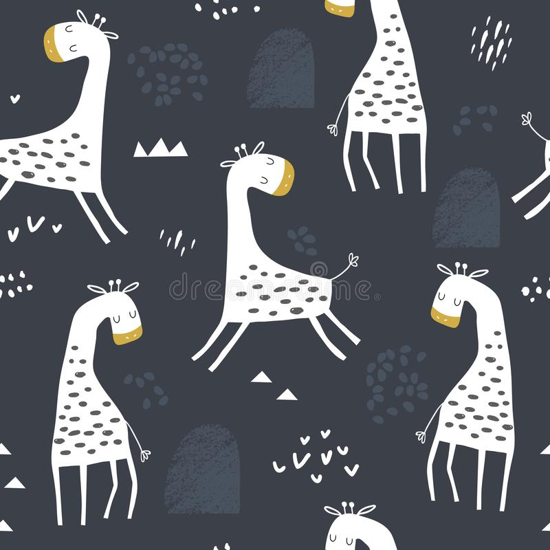 Seamless childish pattern with cute giraffe and hand drawn shapes. Creative kids texture for fabric, wrapping, textile, wallpaper royalty free illustration