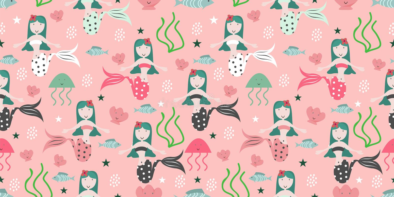 Seamless childish pattern with cute mermaids. Undersea vector illustration trendy texture. Perfect for fabric,textile,wrapping. Scandinavian style tail girl royalty free illustration