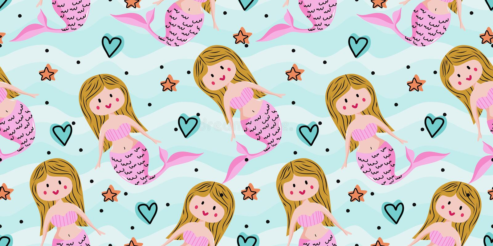 Seamless childish pattern with cute mermaids. Undersea vector illustration trendy texture. Perfect for fabric,textile,wrapping stock illustration