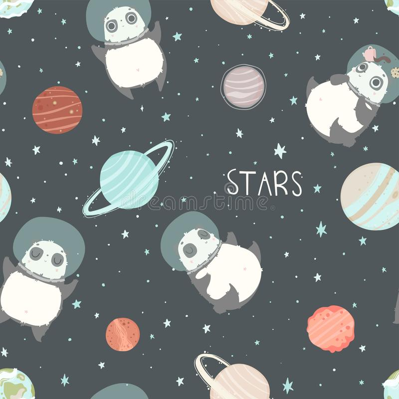 Card with pandas astronauts in helmets, stars and lettering text. Seamless childish pattern with cute pandas astronauts in helmets. Creative nursery background vector illustration