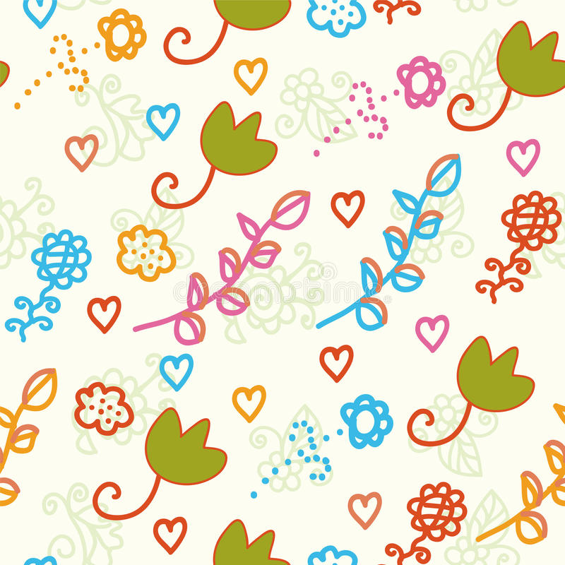 Seamless Childish Pattern With Flowers Stock Images