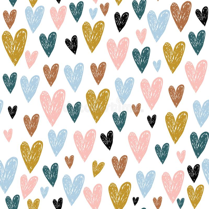 Seamless childish pattern with hand drawn hearts.Creative scandinavian kids texture for fabric, wrapping, textile, wallpaper, stock illustration