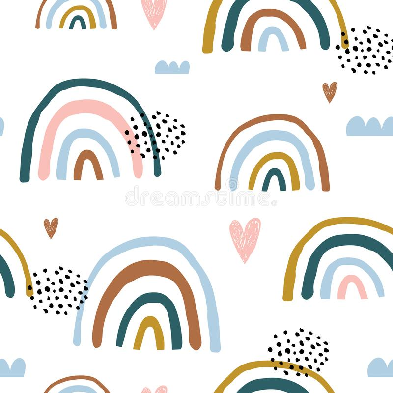 Seamless childish pattern with hand drawn rainbows and hearts, .Creative scandinavian kids texture for fabric, wrapping, textile, vector illustration