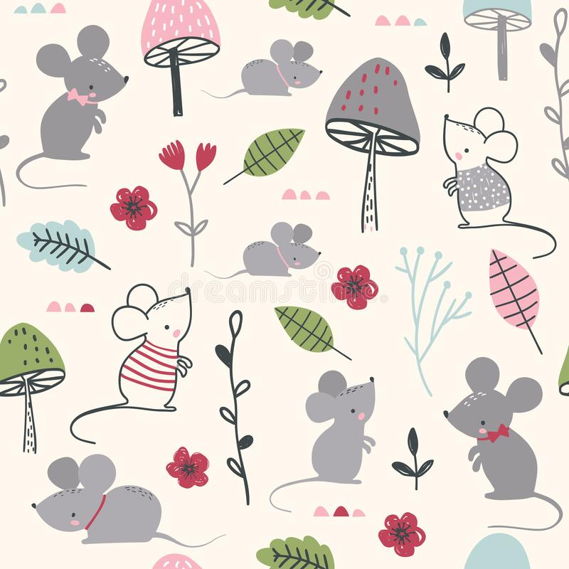 Seamless childish pattern with mouses, mushroom and flowers royalty free illustration