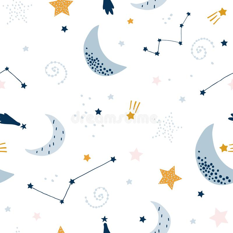 Seamless childish pattern with starry sky, moon. Creative kids texture for fabric, wrapping, textile, wallpaper, apparel. Vector royalty free illustration