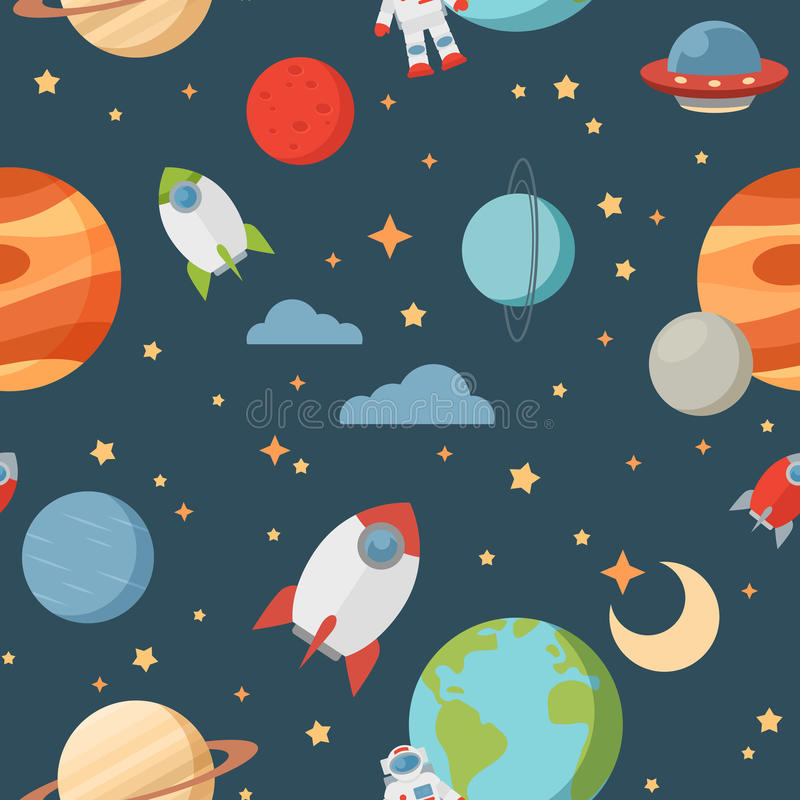 Seamless children cartoon space pattern royalty free illustration