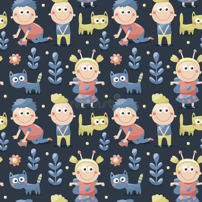 Download Seamless Children Cute Pattern Made With Cats, Kids, Toys, Flowers, Babies Stock Vector - Illustration of friends, wallpaper: 66066690