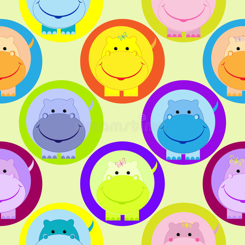 Seamless children pattern with hippo vector illustration. Seamless children pattern with cute colored hippo in the circle vector illustration stock illustration