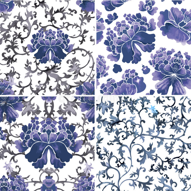 Seamless chinese pattern. Watercolor style wallpaper with floral ornament . royalty free illustration