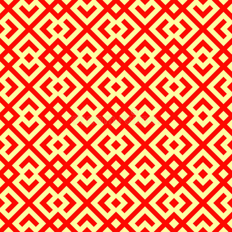 Seamless Chinese window tracery pattern. Repeated stylized red rhombuses on yellow background. Symmetric abstract vector stock illustration