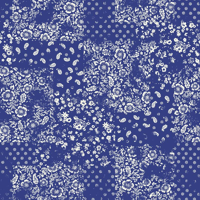 The seamless chintz design that is beautiful at irregulari. I drew a printed cotton pattern stock illustration