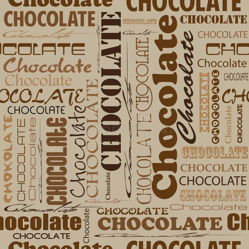 Seamless chocolate pattern with word of chocolate with different stock illustration