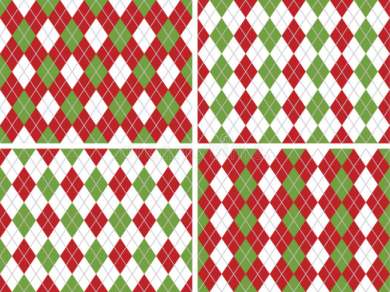 Seamless Christmas Argyle Patterns in Green and Red royalty free illustration