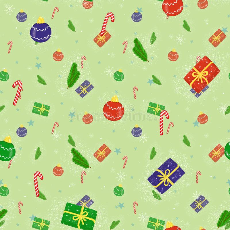 Seamless Christmas background with bright balls, gifts and snow, illustration stock photography