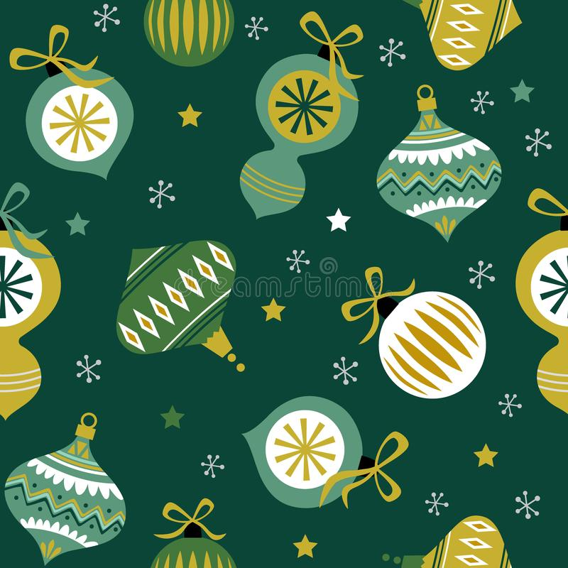 Seamless Christmas baubles with green color vector illustration