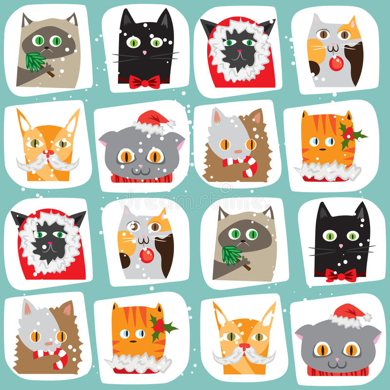 Seamless Christmas cats background. Cute animal tile pattern. New Year wrapping papper texture royalty free illustration
