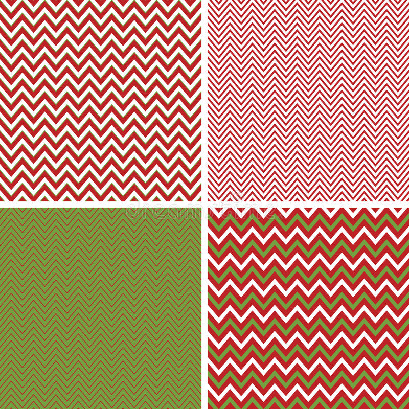 Seamless Christmas Chevron Patterns in Green and Red stock illustration