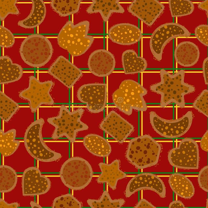 Seamless Christmas cookies on a plaid vector illustration
