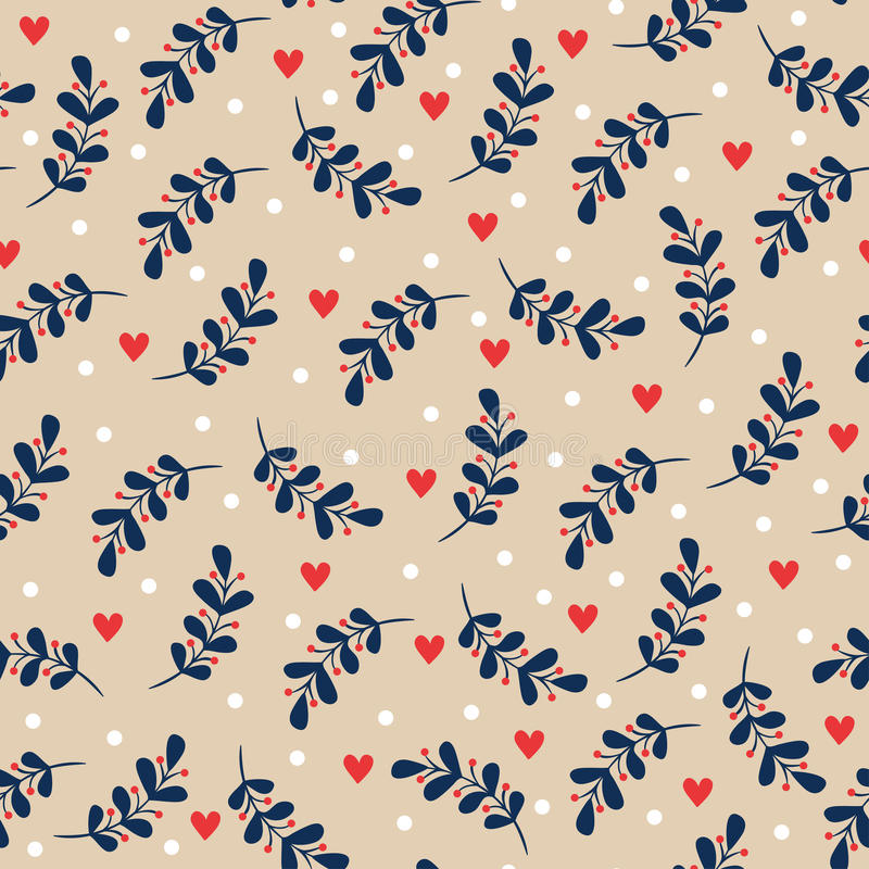 Seamless christmas floral background. Vector seamless illustration of a plant with leaves and hearts on a beige background stock illustration