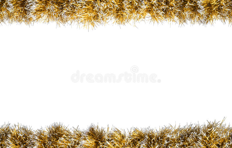Seamless Christmas gold silver tinsel frame. Isolated on a white background.  stock image