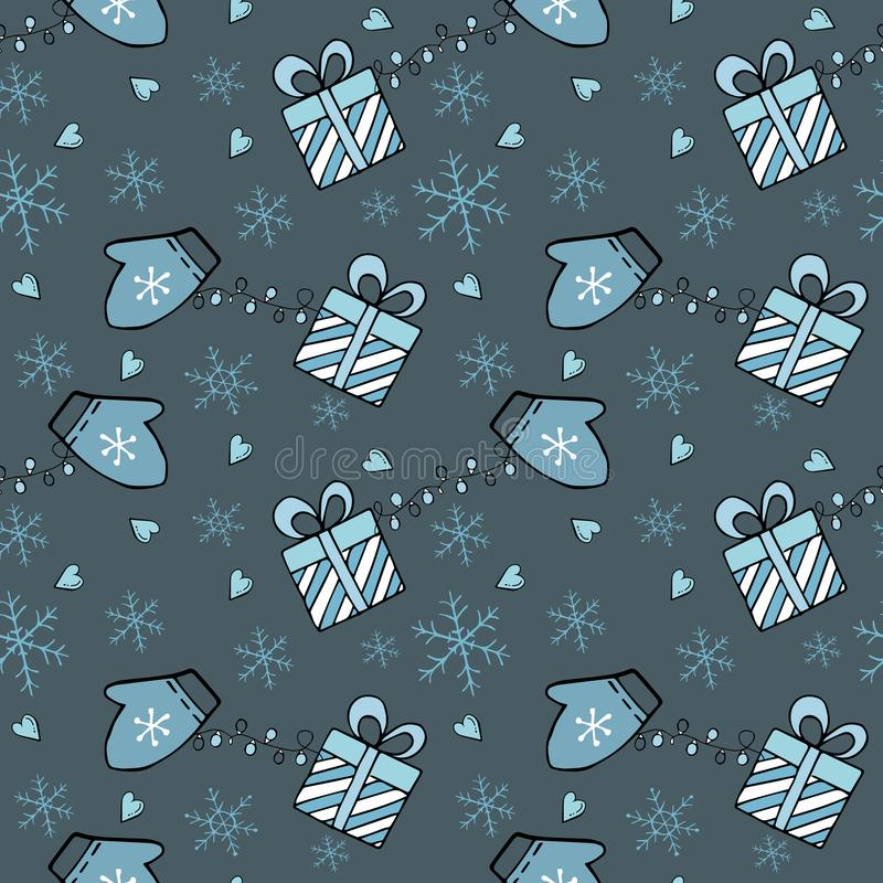 Seamless Christmas and Happy New Year pattern with gift boxes, snowflakes and mittens on dark background royalty free stock images