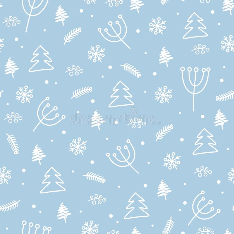 Seamless Christmas never-ending wrapping pattern. Background texture with new year tree, snowflakes and flowers royalty free stock images