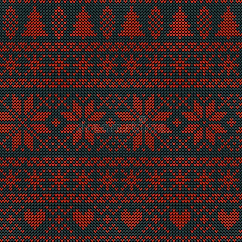 Seamless Christmas nordic knitting vector pattern with fir-trees, snowflakes, flowers or hearts royalty free illustration