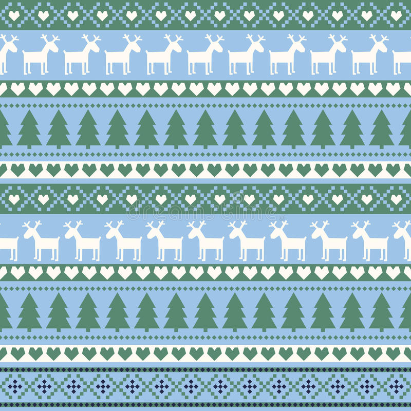 Seamless Christmas pattern, card - Scandinavian sweater style. royalty free illustration